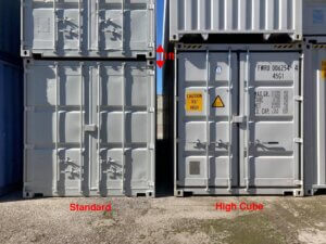 standard height container next to high cube container