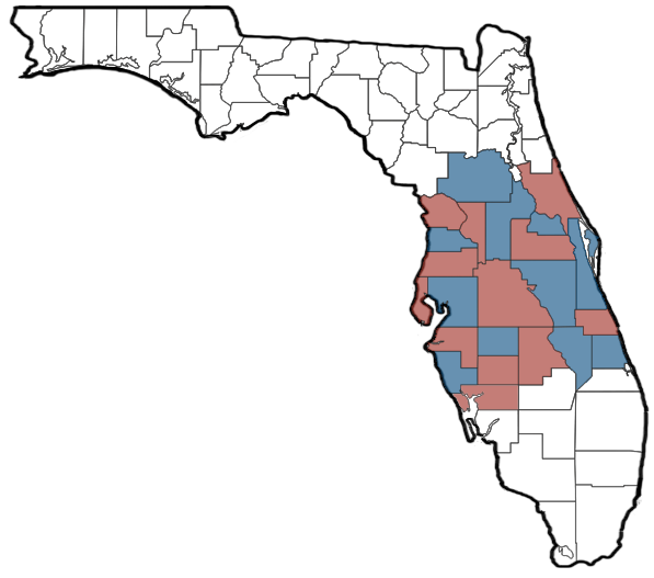 American Trailer Rentals Delivery map highlighting counties in Florida