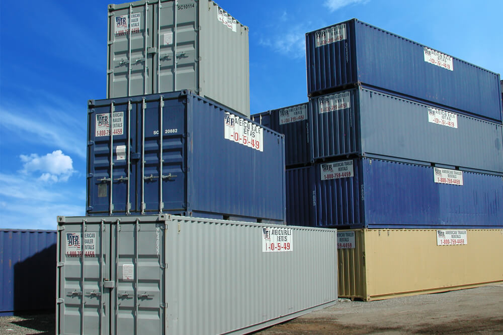 10 foot, 20 foot, and 40 foot storage containers