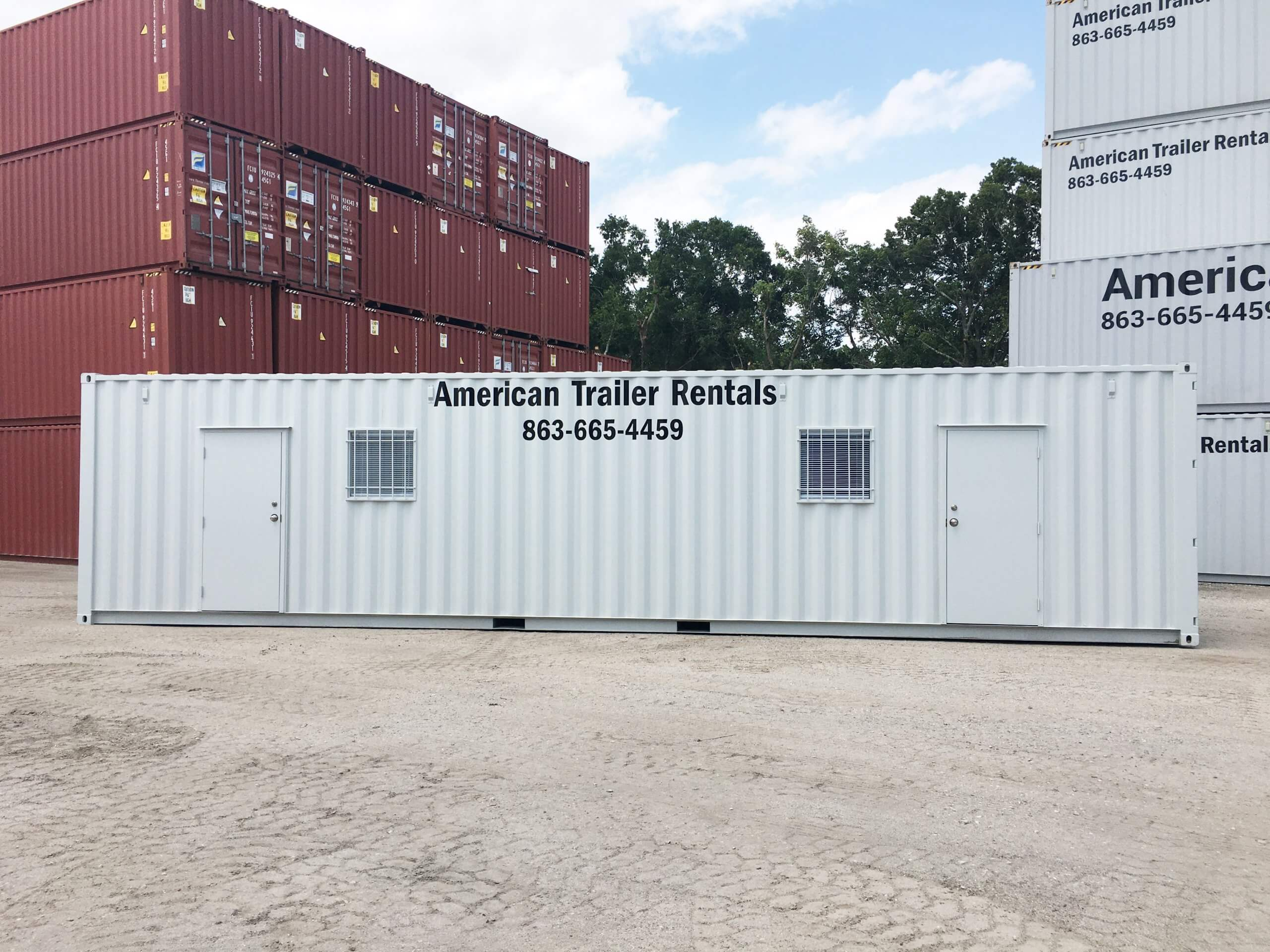 40' Office Container with doors and windows