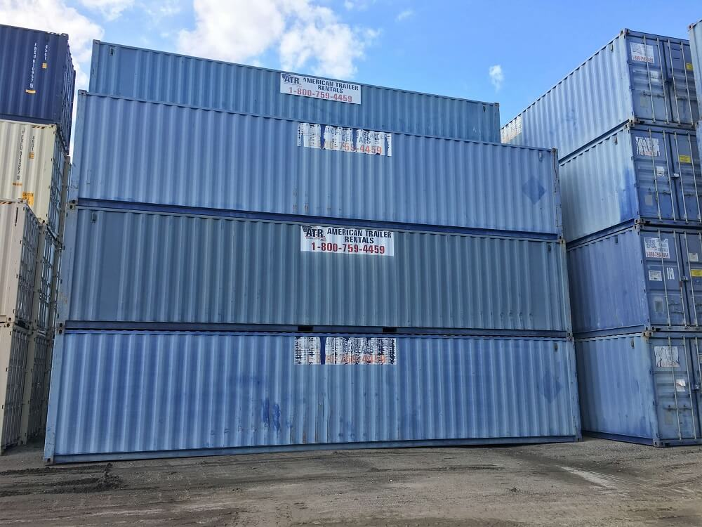 stack of 40 foot storage containers