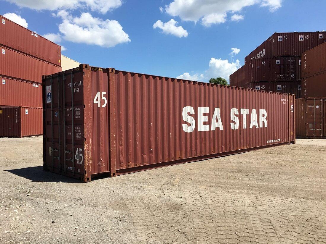 45 foot storage container on ground