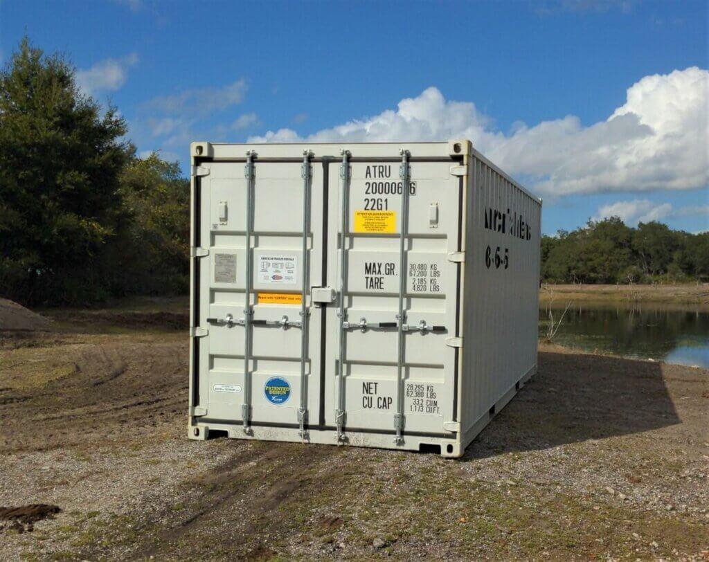 Storage container on ground